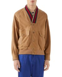 66f62fbc0 Gucci Nylon Jacket With Snake Web Crest in Blue for Men - Lyst