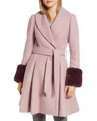 Ted Baker - Faux Fur Cuff Skirted Coat - Lyst