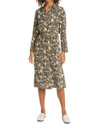 Club Monaco Floral Long Sleeve Drawstring Waist Silk Satin Shirtdress - Multicolor
