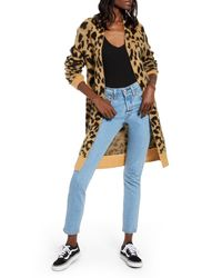 BP. Long Leopard Jacquard Cardigan - Multicolour