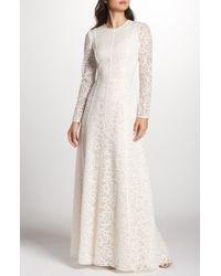 Tadashi Shoji Sheer Sleeve Lace A-line Gown - White