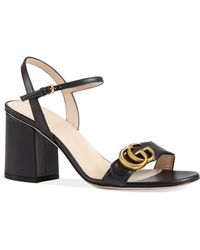 Gucci Gg Marmont Block Heel Sandals - Black