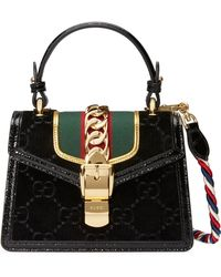 bad176006 Gucci Medium Sylvie Embroidered Top Handle Leather Shoulder Bag - Lyst