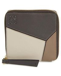 Loewe - Denim Puzzle Colorblock Leather French Wallet - - Lyst