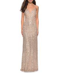 La Femme Ruched Bodice Sequin Evening Dress - Metallic