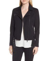 Kenneth Cole - Pinstripe Moto Jacket - Lyst