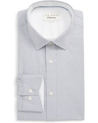 51fade82670acc Lyst - Ted Baker Tamson Trim Fit Dot Dress Shirt in Gray for Men