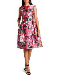 Tahari Floral Print Fit & Flare Dress - Pink