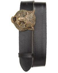 Gucci - Tiger Head Leather Belt - Lyst