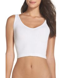 Free People Intimately Fp Solid Rib Brami Crop Top - White