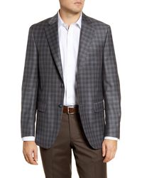 Peter Millar Flynn Classic Fit Plaid Wool Sport Coat - Gray
