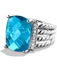 David Yurman 'wheaton' Ring With Semiprecious Stone & Diamonds - Blue