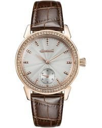 INGERSOLL WATCHES Ingersoll Crystal Accent Leather Strap Watch - Metallic