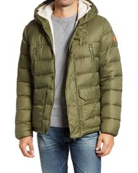 Save The Duck Faux Fur Hooded Parka - Green