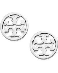f01bbb140 Tory Burch Wyatt Tortoiseprint Huggie Hoop Earrings1 in Metallic - Lyst