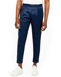 TOPMAN Skinny Fit Turn-up Dress Pants - Blue