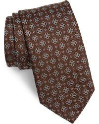 Eton of Sweden Geometric Silk Tie - Brown