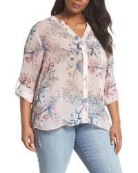 Kut From The Kloth - Jasmine Floral Roll Sleeve Top - Lyst