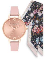 Olivia Burton - Sunray Leather Strap Watch Set - Lyst