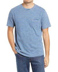 Peter Millar Seaside Indigo Stripe Pocket T-shirt - Blue