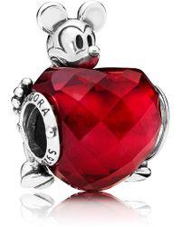 PANDORA - Disney Mickey Mouse Love Heart Bead Charm - Lyst
