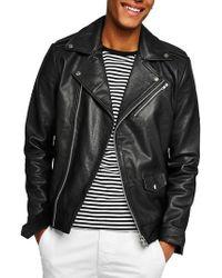 Topman | Oversize Leather Biker Jacket | Lyst