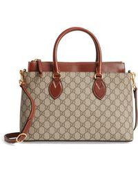 40b5c9160f7e Gucci - Small Top Handle Gg Supreme Canvas & Leather Tote - - Lyst
