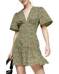 TOPSHOP Petitegreen Angel Sleeve Mini Dress