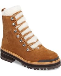 Marc Fisher Izzie Genuine Shearling Lace-up Boot - Brown