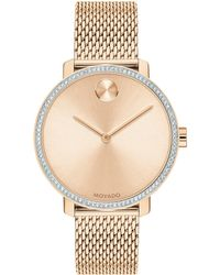 Movado Bold Rose Gold Ion-plated Stainless Steel, Crystal & Mesh-link Bracelet Watch - Metallic