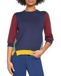 ModCloth Well Placed Pep Colorblock Sweater - Blue
