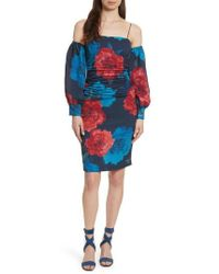 Tracy Reese - Strapping Cold Shoulder Silk Dress - Lyst
