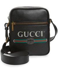 Gucci - Logo Leather Messenger Bag - None - Lyst