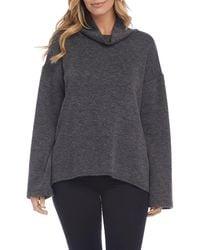 Karen Kane Double Knit Turtleneck Sweater - Gray