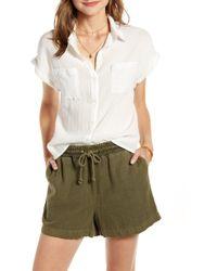 Treasure & Bond Metallic Stripe Shrunken Cotton Camp Shirt