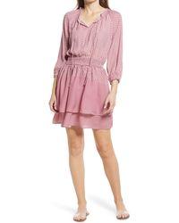Bobeau Smocked Waist Minidress - Pink