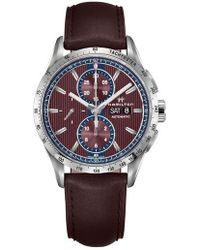 Hamilton - Broadway Automatic Chronograph Leather Strap Watch - Lyst
