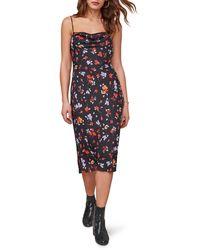 Astr Tenaya Floral Cowl Neck Sleeveless Dress - Black