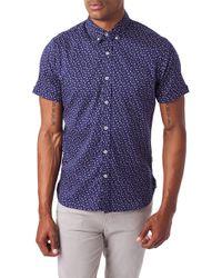 7 Diamonds Spring Splendor Slim Fit Short Sleeve Button-down Sport Shirt - Blue