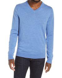 Nordstrom Washable Merino V-neck Sweater - Blue