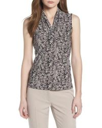 Anne Klein - Printed Triple Pleat V-neck Top - Lyst