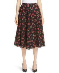 Michael Kors - Rose Print Silk Georgette Dance Skirt - Lyst