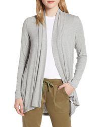 Bobeau High/low Jersey Cardigan - Gray