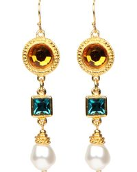 Ben-Amun - Multicolor Crystal & Imitation Pearl Drop Clip Earrings - Lyst