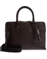 Ted Baker Jager Leather Briefcase - Purple - Black