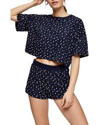TOPSHOP Navy Printed Ditsy Boxy Pyjama Set - Blue