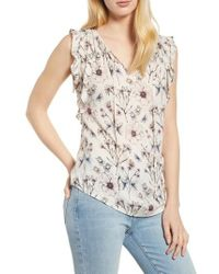 Velvet By Graham & Spencer - Floral Print Sleeveless Blouse - Lyst