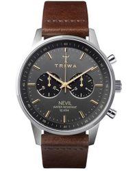 Triwa - Smoky Nevil Chronograph Leather Strap Watch - Lyst