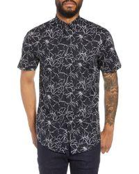 Calibrate - Trim Fit Hibiscus Print Sport Shirt - Lyst