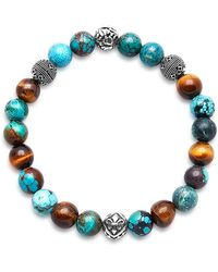 Nialaya - Beaded Bracelet With Bali Turquoise, Tiger Eye And Indian Silver - Lyst